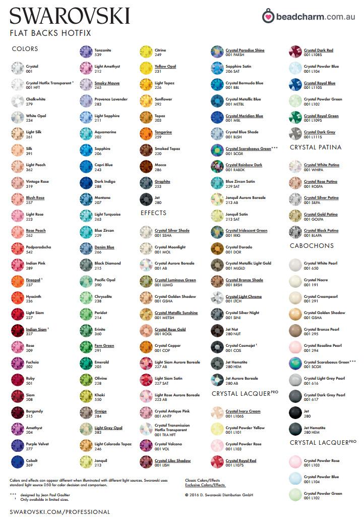 488ecd2efb Swarovski Hotfix Colour Chart
