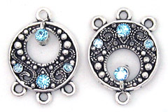 Earring Chandelier Round with Swarovski Aquamarine Findings