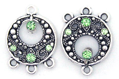 Earring Chandelier Round with Swarovski Peridot Findings