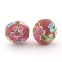 Lampwork Flower Round Light Amethyst 12mm