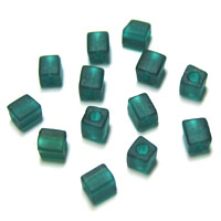 Miyuki Square 4mm Dark Green Opaque Frosted