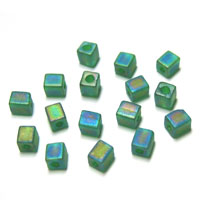 Miyuki Square 4mm Green Opaque Frosted Rainbow