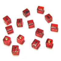 Miyuki Square 4mm Red Silver Lined
