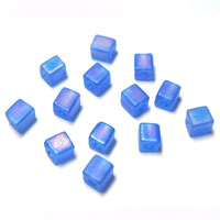 Miyuki Square 4mm Sapphire Opaque Frosted Rainbow