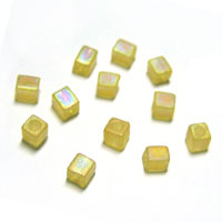 Miyuki Square 4mm Tan Translucent Frosted Rainbow