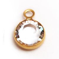 Swarovski Round Channel Drop Gold 6mm Crystal