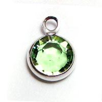 Swarovski Round Channel Drop Silver 6mm Peridot