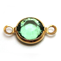 Swarovski Round Channel Link Gold 6mm Peridot