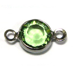 Swarovski Round Channel Link Gun Metal 6mm Peridot