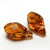 Swarovski Small Briolette 6007 7x4mm Topaz Pendants
