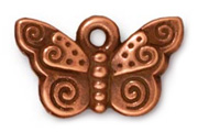 TierraCast Antique Copper Spiral Butterfly Drop
