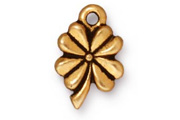 TierraCast Antique Gold 4 Leaf Clover Drop